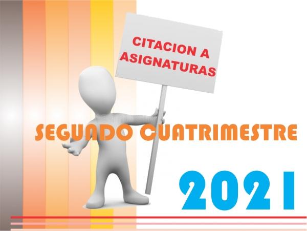 Citaciones Asignaturas SEGUNDO CUATRIMESTRE 2021